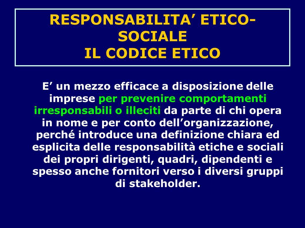 RESPONSABILITA' ETICO- SOCIALE IL CODICE ETICO E' un mezzo efficace a disposizione delle imprese per prevenire comportamenti irresponsabili o illeciti