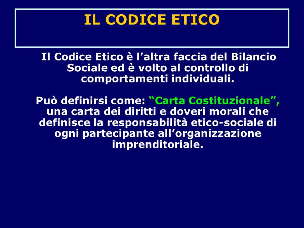 """IL CODICE ETICO Il Codice Etico è l'altra faccia del Bilancio Sociale ed è volto al controllo di comportamenti individuali. Può definirsi come: """"Carta"""
