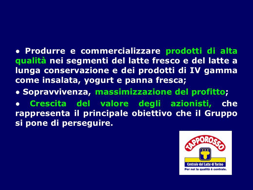 ● Produrre e commercializzare prodotti di alta qualità nei segmenti del latte fresco e del latte a lunga conservazione e dei prodotti di IV gamma come