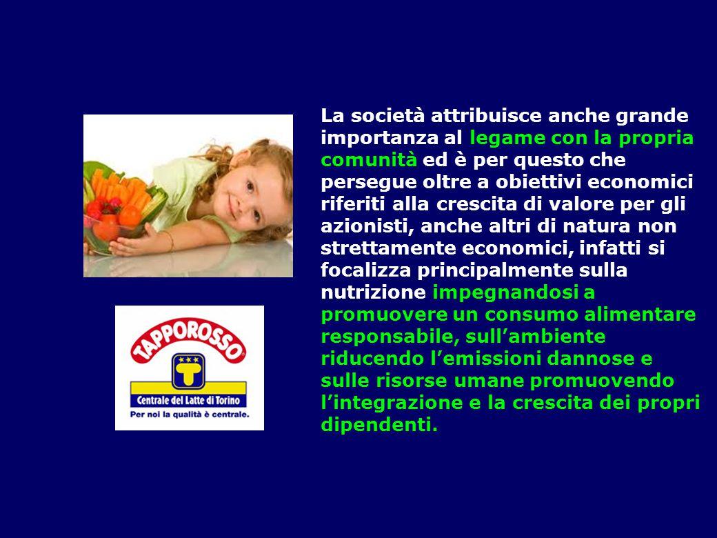 La società attribuisce anche grande importanza al legame con la propria comunità ed è per questo che persegue oltre a obiettivi economici riferiti all