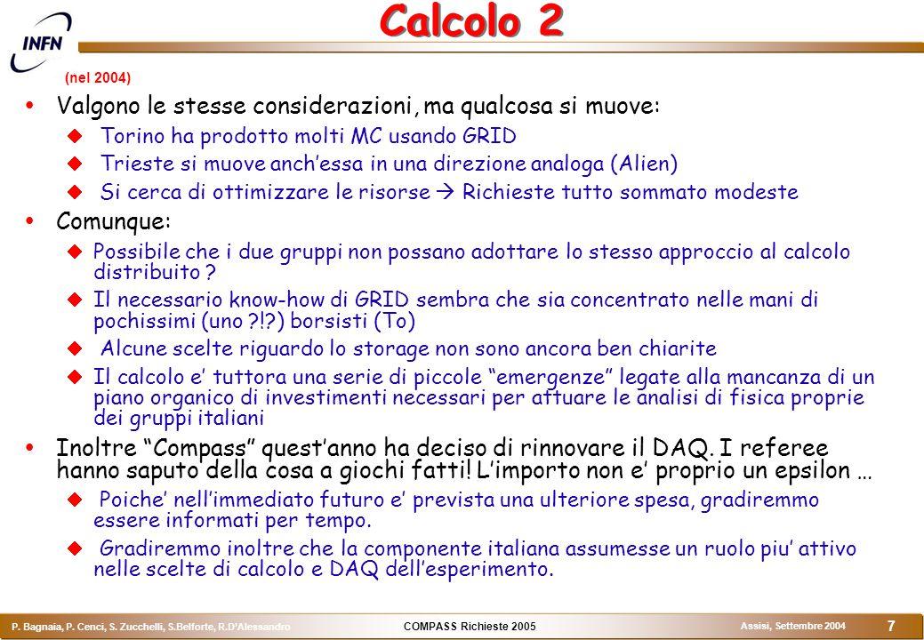 COMPASS Richieste 2005 P. Bagnaia, P. Cenci, S.