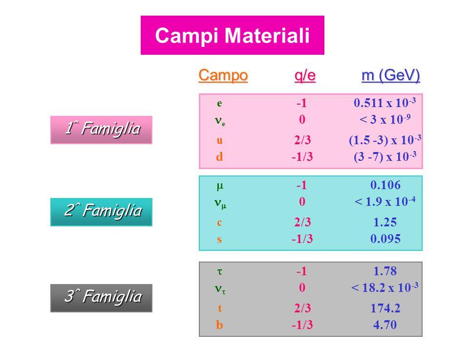 Campoq/e m (GeV) (3 -7) x 10 -3 -1/3d (1.5 -3) x 10 -3 2/3 u < 3 x 10 -9 0 e 0.511 x 10 -3 e 1 ^ Famiglia 0.095-1/3s 1.252/3 c < 1.9 x 10 -4 0  0.106  2 ^ Famiglia 4.70-1/3b 174.22/3 t < 18.2 x 10 -3 0  1.78  3 ^ Famiglia Campi Materiali