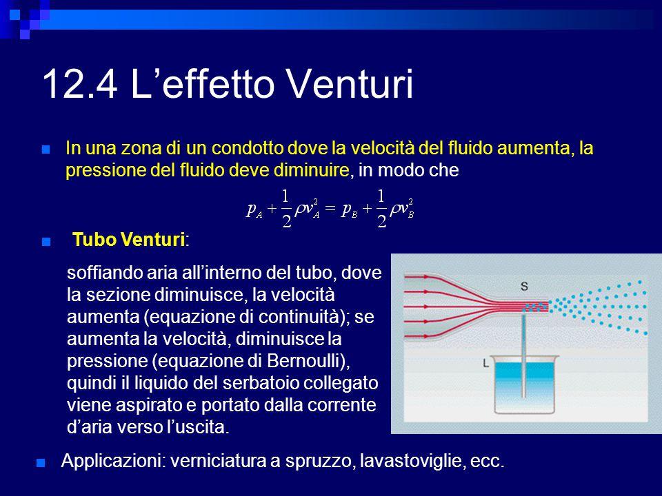 12.4 L'effetto Venturi In una zona di un condotto dove la velocità del fluido aumenta, la pressione del fluido deve diminuire, in modo che ■ Tubo Vent