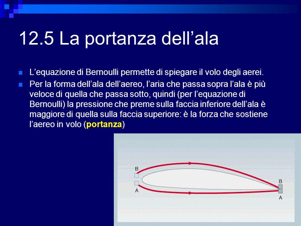 12.5 La portanza dell'ala L'equazione di Bernoulli permette di spiegare il volo degli aerei. Per la forma dell'ala dell'aereo, l'aria che passa sopra