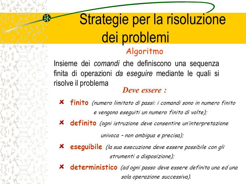 Strategie per la risoluzione dei problemi Algoritmo Insieme dei comandi che definiscono una sequenza finita di operazioni da eseguire mediante le qual