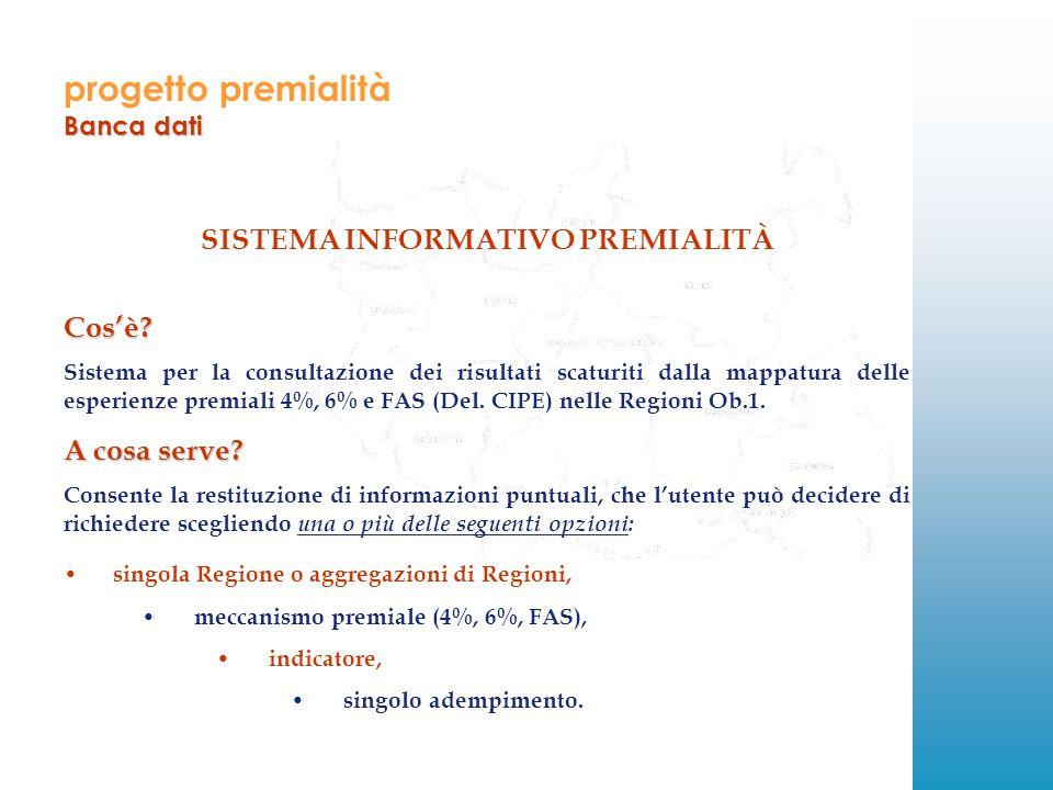 progetto premialità Banca dati SISTEMA INFORMATIVO PREMIALITÀCos'è.