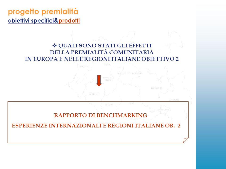 progetto premialità obiettivi specifici & prodotti  QUALI SONO STATI GLI EFFETTI DELLA PREMIALITÀ COMUNITARIA IN EUROPA E NELLE REGIONI ITALIANE OBIETTIVO 2 RAPPORTO DI BENCHMARKING ESPERIENZE INTERNAZIONALI E REGIONI ITALIANE OB.