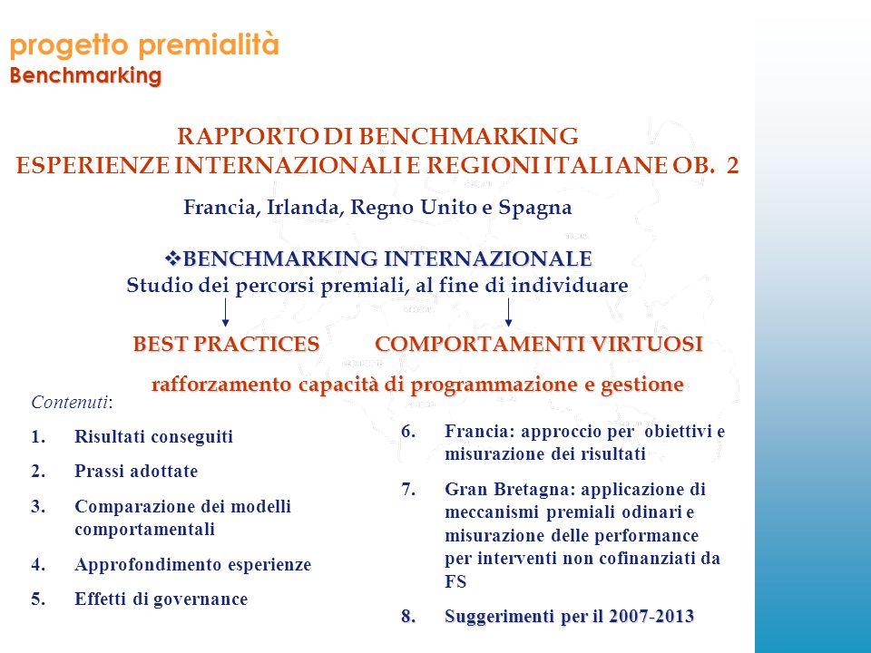 progetto premialitàBenchmarking RAPPORTO DI BENCHMARKING ESPERIENZE INTERNAZIONALI E REGIONI ITALIANE OB.