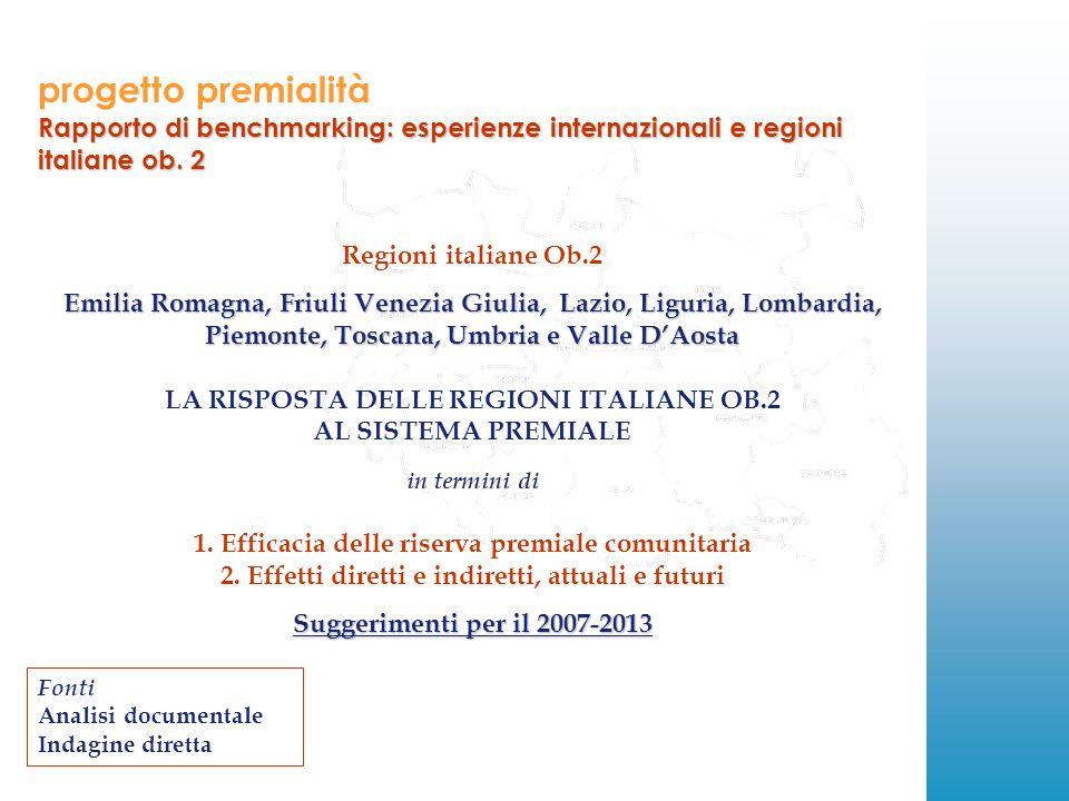 progetto premialità Rapporto di benchmarking: esperienze internazionali e regioni italiane ob.