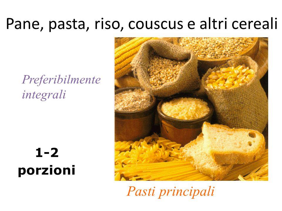 Pane, pasta, riso, couscus e altri cereali 1-2 porzioni Pasti principali Preferibilmente integrali