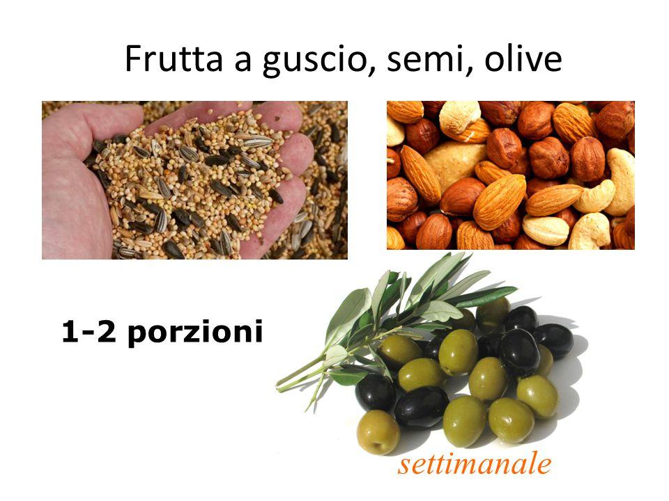 Frutta a guscio, semi, olive 1-2 porzioni settimanale