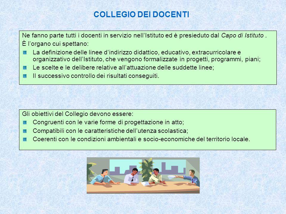 CONSIGLI DI CLASSE Il Consiglio di Classe è l'organo cui compete la programmazione, l'attuazione e il controllo dell'intera attività didattica di una classe.