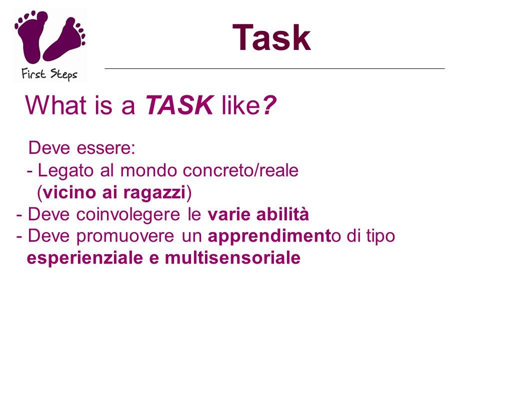 Task What is a TASK like? Deve essere: - Legato al mondo concreto/reale (vicino ai ragazzi) - Deve coinvolegere le varie abilità - Deve promuovere un