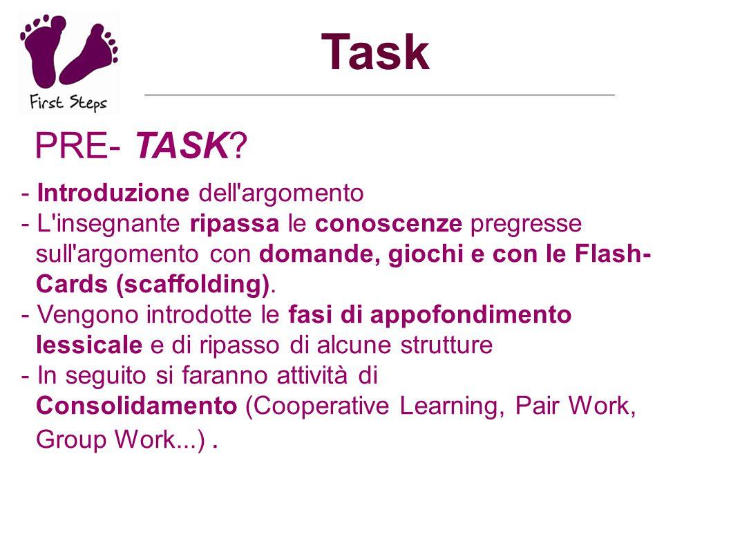 Task PRE- TASK? - Introduzione dell'argomento - L'insegnante ripassa le conoscenze pregresse sull'argomento con domande, giochi e con le Flash- Cards