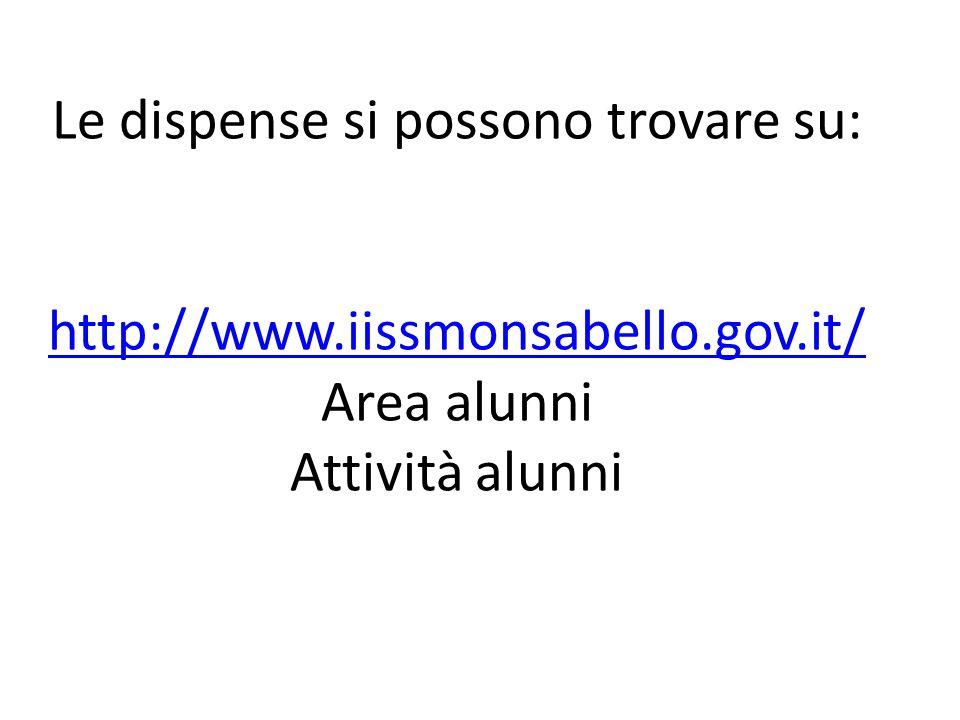 Le dispense si possono trovare su: http://www.iissmonsabello.gov.it/ Area alunni Attività alunni http://www.iissmonsabello.gov.it/