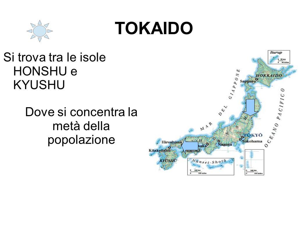 TOKAIDO Si trova tra le isole HONSHU e KYUSHU Dove si concentra la metà della popolazione