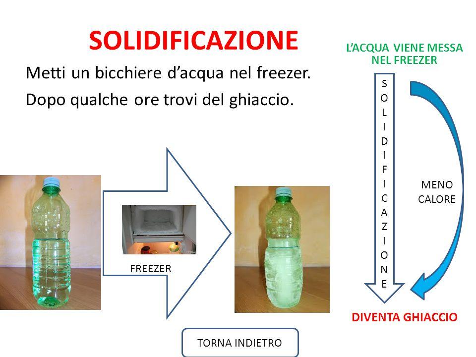SOLIDIFICAZIONE Metti un bicchiere d'acqua nel freezer.