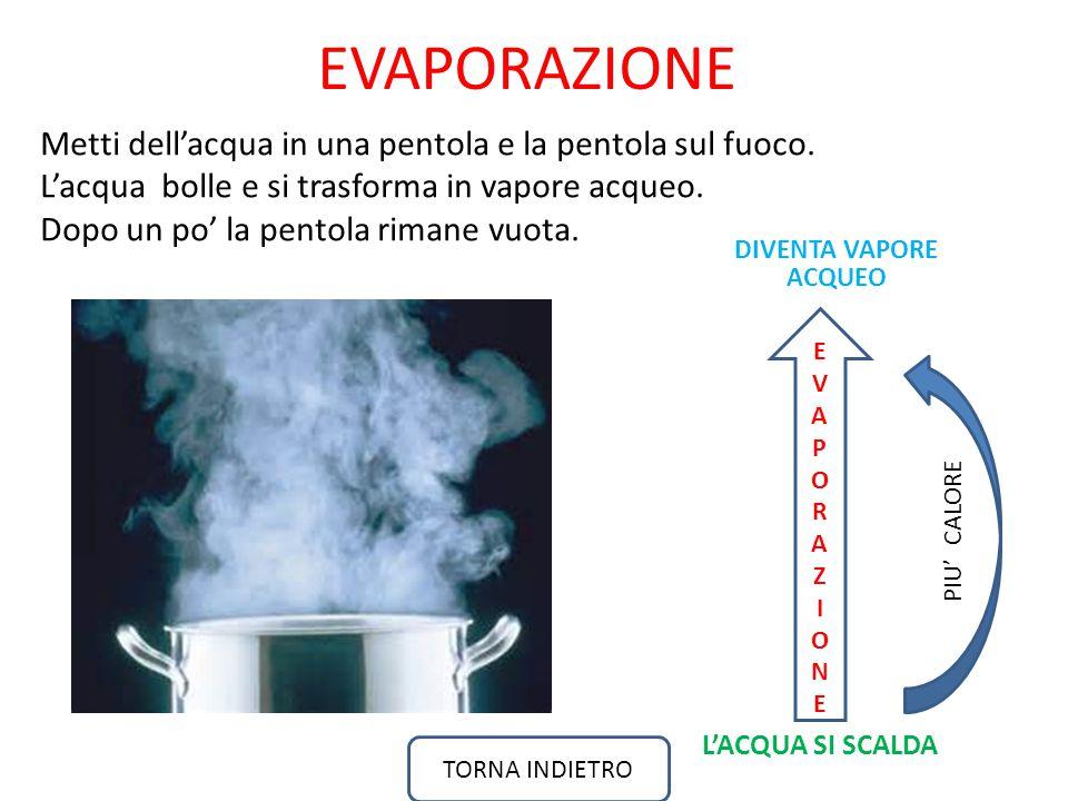 L'ACQUA SI SCALDA Metti dell'acqua in una pentola e la pentola sul fuoco.