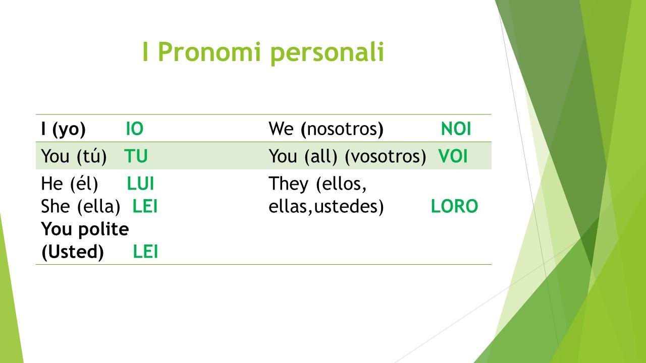 I Pronomi personali I (yo) IOWe (nosotros) NOI You (tú) TUYou (all) (vosotros) VOI He (él) LUI She (ella) LEI You polite (Usted) LEI They (ellos, ella