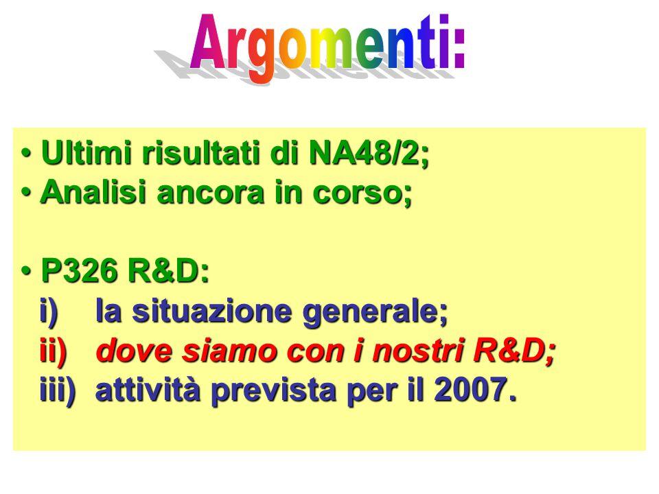 Ultimi risultati di NA48/2; Ultimi risultati di NA48/2; Analisi ancora in corso; Analisi ancora in corso; P326 R&D: P326 R&D: i) la situazione generale; i) la situazione generale; ii) dove siamo con i nostri R&D; ii) dove siamo con i nostri R&D; iii) attività prevista per il 2007.