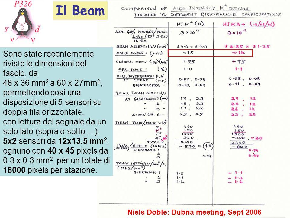 Niels Doble: Dubna meeting, Sept 2006 Sono state recentemente riviste le dimensioni del fascio, da 48 x 36 mm 2 a 60 x 27mm 2, permettendo così una disposizione di 5 sensori su doppia fila orizzontale, con lettura del segnale da un solo lato (sopra o sotto …): 5x2 sensori da 12x13.5 mm 2, ognuno con 40 x 45 pixels da 0.3 x 0.3 mm 2, per un totale di 18000 pixels per stazione.