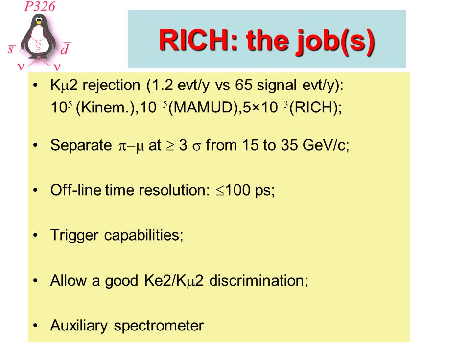 RICH: the job(s) K  2 rejection (1.2 evt/y vs 65 signal evt/y): 10  (Kinem.),10  (MAMUD),5×10  (RICH); Separate  at  3  from 15 to 35 GeV/