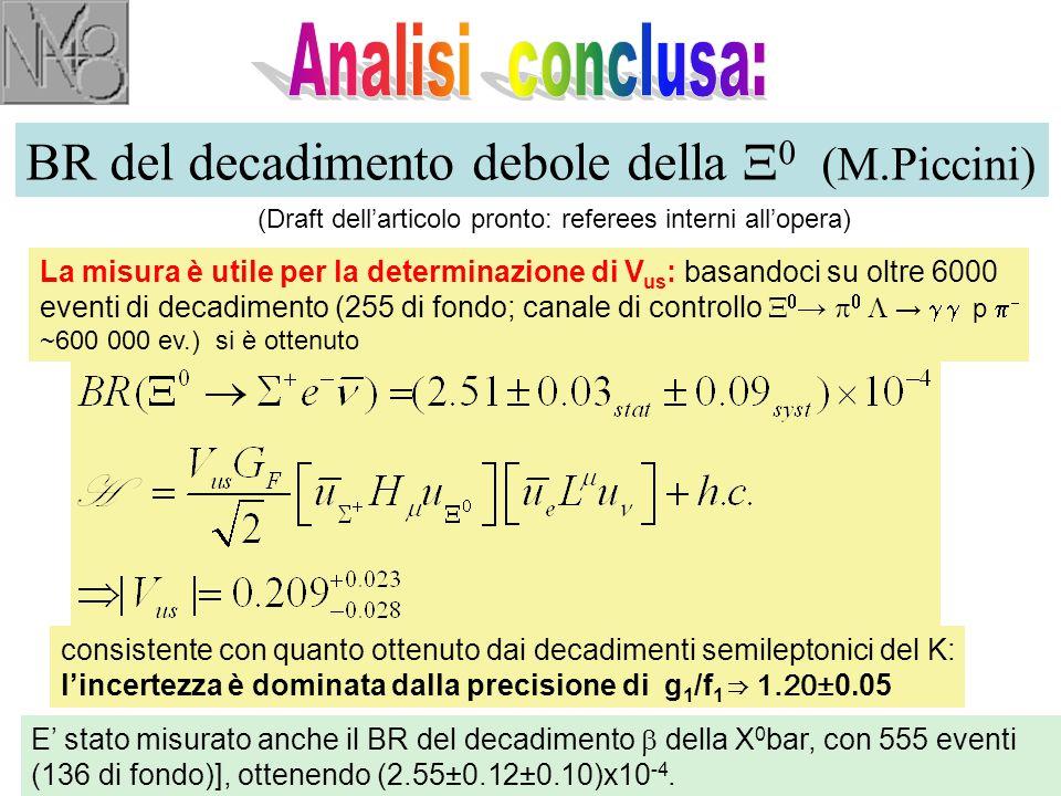 BR del decadimento debole della  0 (M.Piccini) (Draft dell'articolo pronto: referees interni all'opera) La misura è utile per la determinazione di V us : basandoci su oltre 6000 eventi di decadimento (255 di fondo; canale di controllo   →    →  p   ~600 000 ev.) si è ottenuto consistente con quanto ottenuto dai decadimenti semileptonici del K: l'incertezza è dominata dalla precisione di g 1 /f 1 ⇒ 1.20 ±0.05 E' stato misurato anche il BR del decadimento  della X 0 bar, con 555 eventi (136 di fondo)], ottenendo (2.55±0.12±0.10)x10 -4.