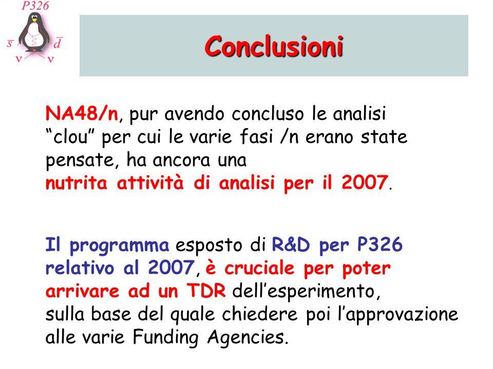 Conclusioni NA48/n, pur avendo concluso le analisi clou per cui le varie fasi /n erano state pensate, ha ancora una nutrita attività di analisi per il 2007.