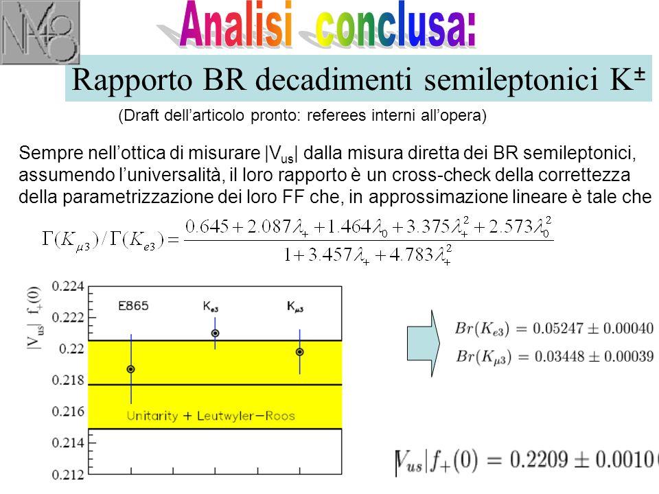 Rapporto BR decadimenti semileptonici K ± (Draft dell'articolo pronto: referees interni all'opera) Sempre nell'ottica di misurare |V us | dalla misura diretta dei BR semileptonici, assumendo l'universalità, il loro rapporto è un cross-check della correttezza della parametrizzazione dei loro FF che, in approssimazione lineare è tale che 