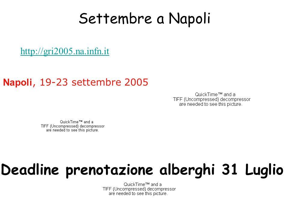 Settembre a Napoli http://gri2005.na.infn.it Napoli, 19-23 settembre 2005 Deadline prenotazione alberghi 31 Luglio