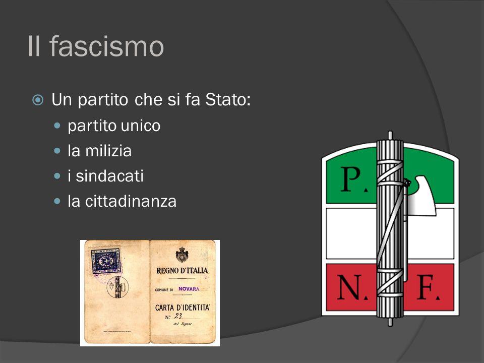 Il fascismo  Un partito che si fa Stato: partito unico la milizia i sindacati la cittadinanza