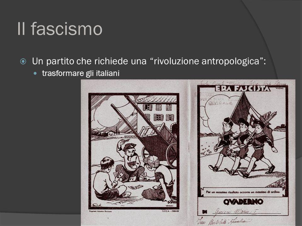 Il fascismo  Un partito che richiede una rivoluzione antropologica : trasformare gli italiani