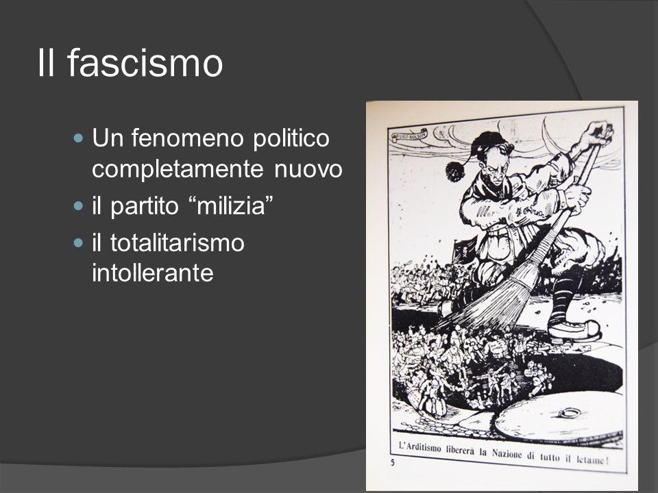 Il fascismo Un fenomeno politico completamente nuovo il partito milizia il totalitarismo intollerante