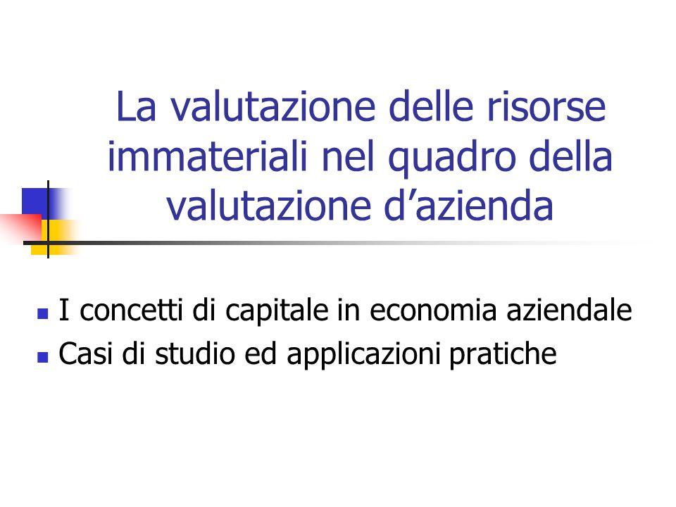 La valutazione delle risorse immateriali nel quadro della valutazione d'azienda I concetti di capitale in economia aziendale Casi di studio ed applicazioni pratiche
