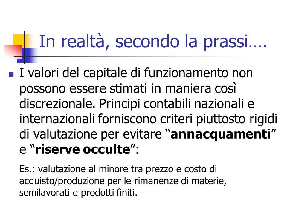 In realtà, secondo la prassi…. I valori del capitale di funzionamento non possono essere stimati in maniera così discrezionale. Principi contabili naz