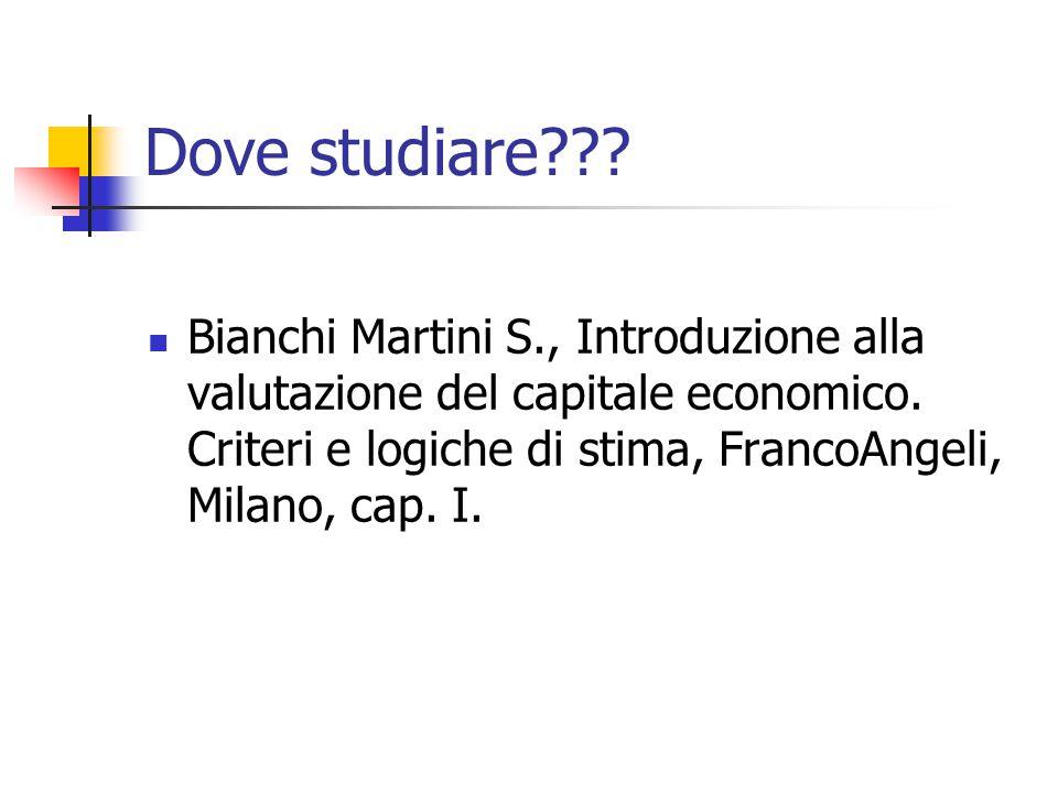 Dove studiare??? Bianchi Martini S., Introduzione alla valutazione del capitale economico. Criteri e logiche di stima, FrancoAngeli, Milano, cap. I.