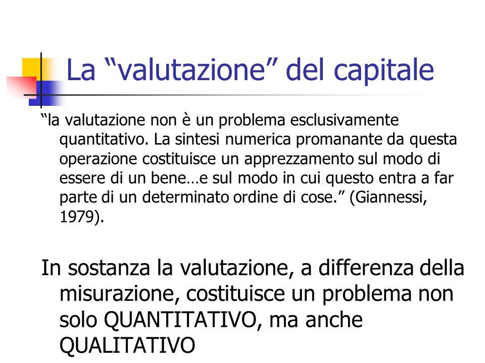 """La """"valutazione"""" del capitale """"la valutazione non è un problema esclusivamente quantitativo. La sintesi numerica promanante da questa operazione costi"""