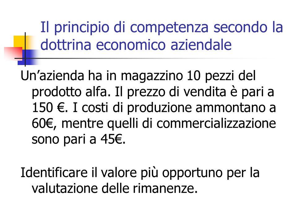 Il principio di competenza secondo la dottrina economico aziendale Un'azienda ha in magazzino 10 pezzi del prodotto alfa. Il prezzo di vendita è pari