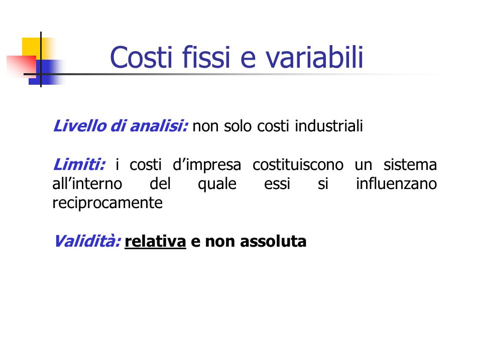 Livello di analisi: non solo costi industriali Limiti: i costi d'impresa costituiscono un sistema all'interno del quale essi si influenzano reciprocamente Validità: relativa e non assoluta Costi fissi e variabili