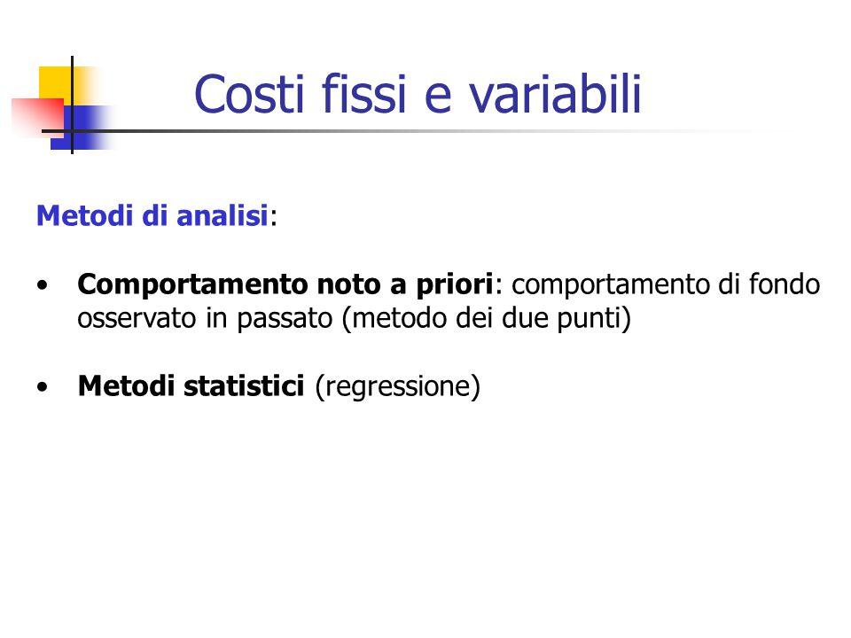 Metodi di analisi: Comportamento noto a priori: comportamento di fondo osservato in passato (metodo dei due punti) Metodi statistici (regressione) Costi fissi e variabili