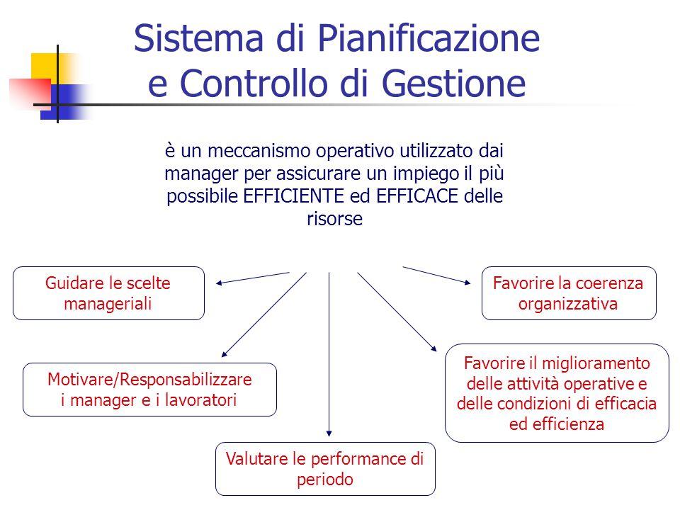 Sistema di Pianificazione e Controllo di Gestione è un meccanismo operativo utilizzato dai manager per assicurare un impiego il più possibile EFFICIENTE ed EFFICACE delle risorse Guidare le scelte manageriali Favorire la coerenza organizzativa Motivare/Responsabilizzare i manager e i lavoratori Favorire il miglioramento delle attività operative e delle condizioni di efficacia ed efficienza Valutare le performance di periodo