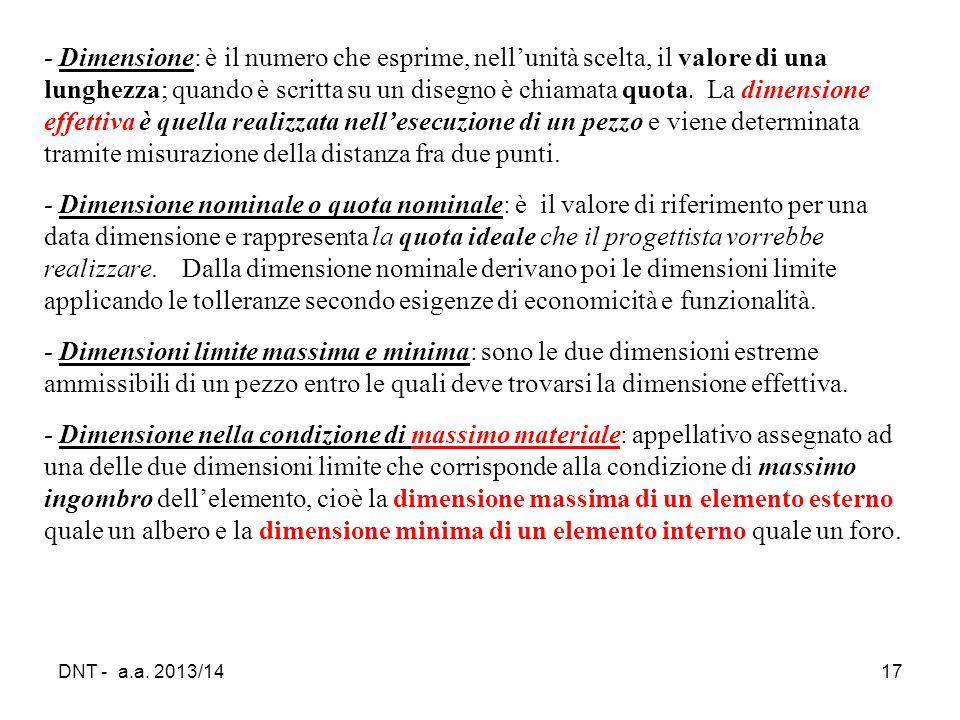 DNT - a.a. 2013/1417 ‑ Dimensione: è il numero che esprime, nell'unità scelta, il valore di una lunghezza; quando è scritta su un disegno è chiamata q