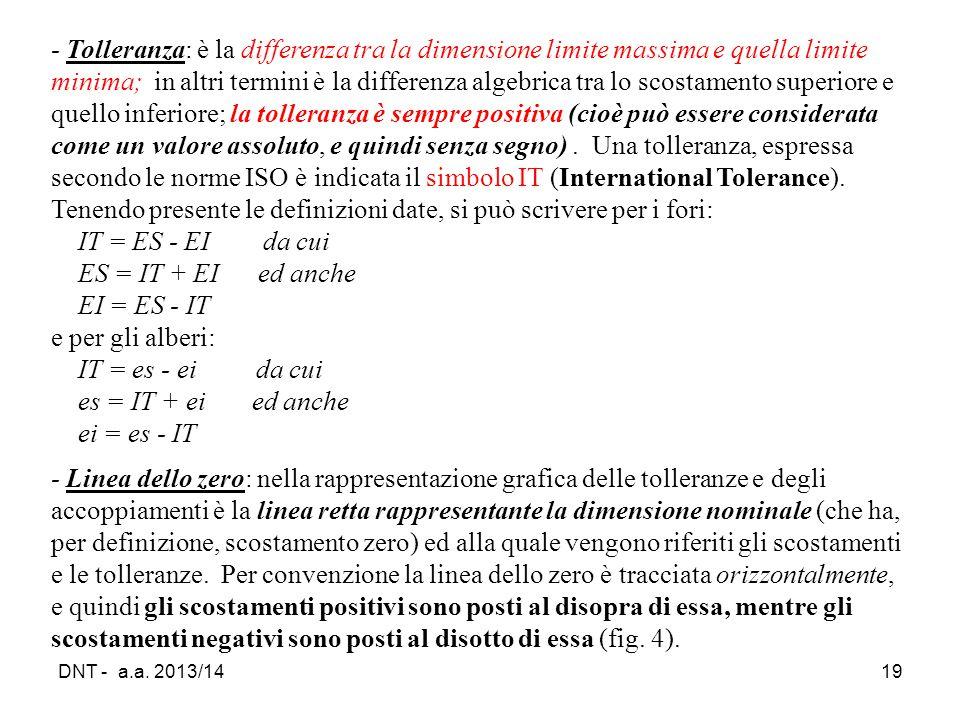DNT - a.a. 2013/1419 ‑ Tolleranza: è la differenza tra la dimensione limite massima e quella limite minima; in altri termini è la differenza algebrica