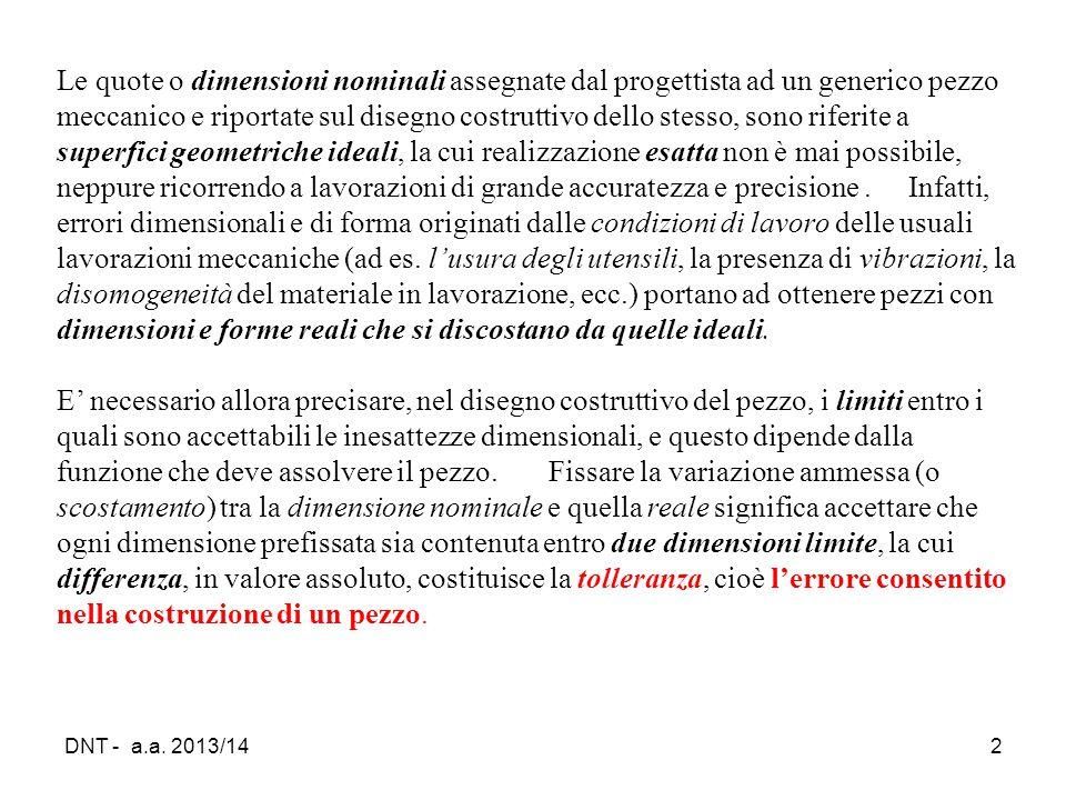 DNT - a.a. 2013/142 Le quote o dimensioni nominali assegnate dal progettista ad un generico pezzo meccanico e riportate sul disegno costruttivo dello