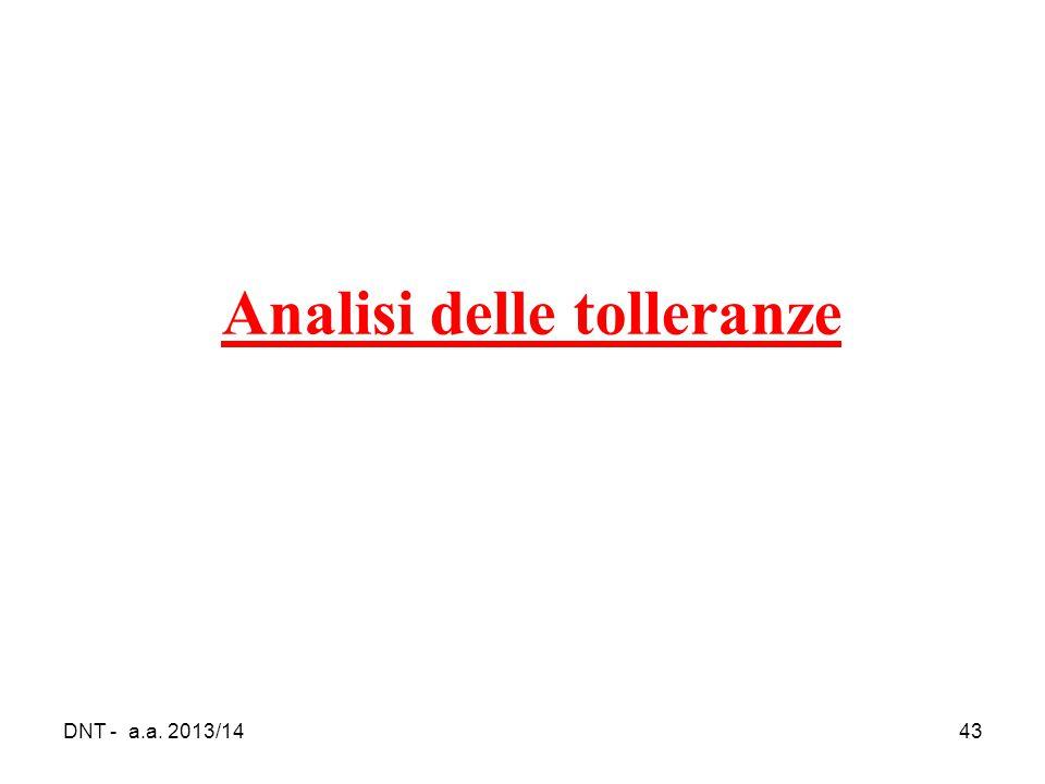 DNT - a.a. 2013/1443 Analisi delle tolleranze