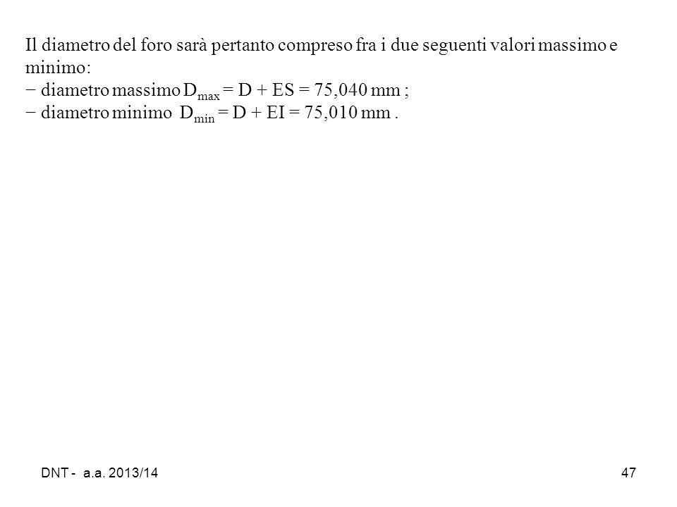 DNT - a.a. 2013/1447 Il diametro del foro sarà pertanto compreso fra i due seguenti valori massimo e minimo: − diametro massimo D max = D + ES = 75,04
