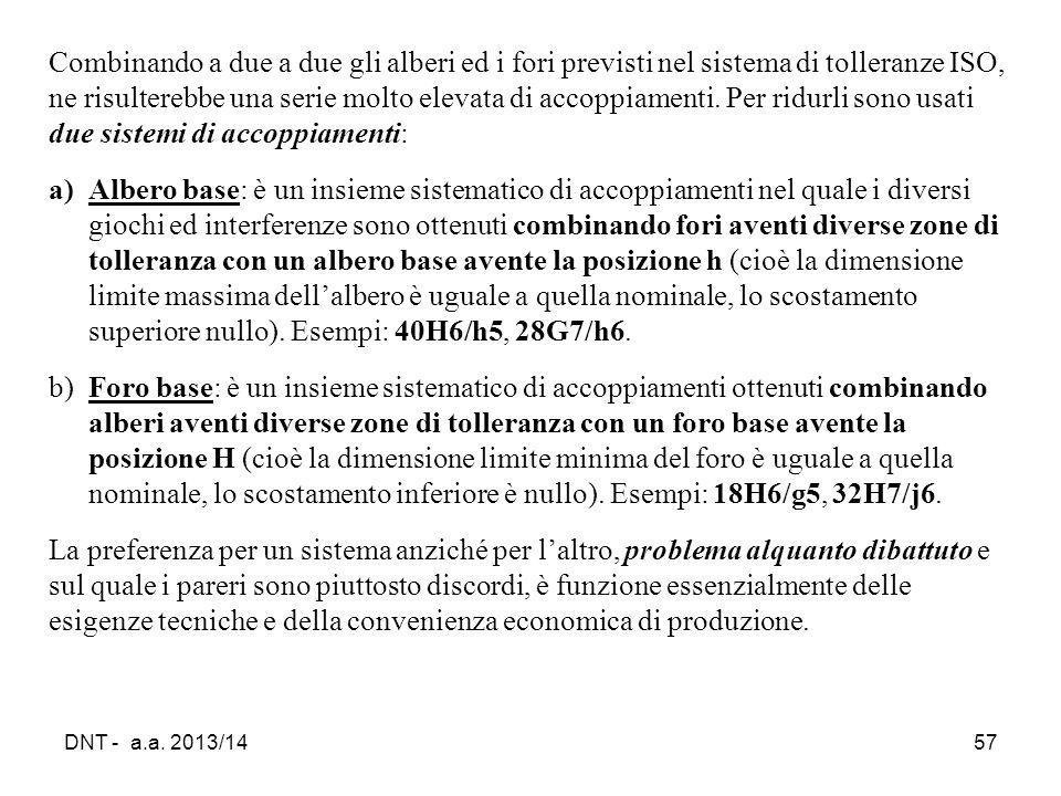 DNT - a.a. 2013/1457 Combinando a due a due gli alberi ed i fori previsti nel sistema di tolleranze ISO, ne risulterebbe una serie molto elevata di ac
