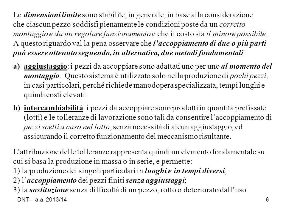 DNT - a.a. 2013/146 Le dimensioni limite sono stabilite, in generale, in base alla considerazione che ciascun pezzo soddisfi pienamente le condizioni