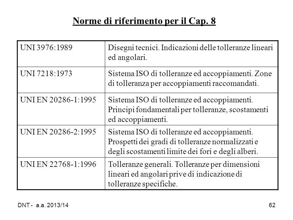 DNT - a.a. 2013/1462 Norme di riferimento per il Cap. 8 UNI 3976:1989Disegni tecnici. Indicazioni delle tolleranze lineari ed angolari. UNI 7218:1973S