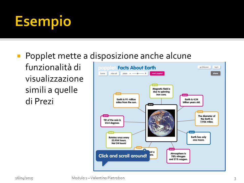  Popplet mette a disposizione anche alcune funzionalità di visualizzazione simili a quelle di Prezi 16/04/2015Modulo 1 – Valentino Pietrobon3